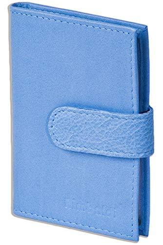 Rimbaldi - Custodia per carte di credito-XXL con 19 tasche di carta di morbida pelle di vitello trattata in Royal Blue