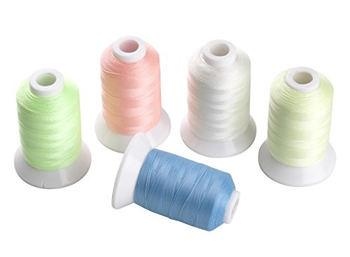 Simthread 5 Colors Glow in The Dark Embroidery Thread 1000 Yards Each for Brother Janome Pfaff Babylock Singer Bernina Husqvaran and Most Home Embroidery Machines Special Embroidery Designs