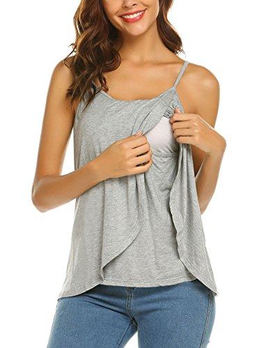 Umstandsbluse Stillshirt Damen Umstandsmode Stilltop Schwanger Bluse Maternity Shirt Stillnachthemd -XXL