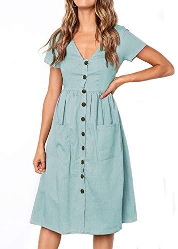 Keven Damen Kurzarm Sommerkleider V-Ausschnitt Vintage Knöpfe Kleid Strandkleider Mit Taschen (XL, Blau)