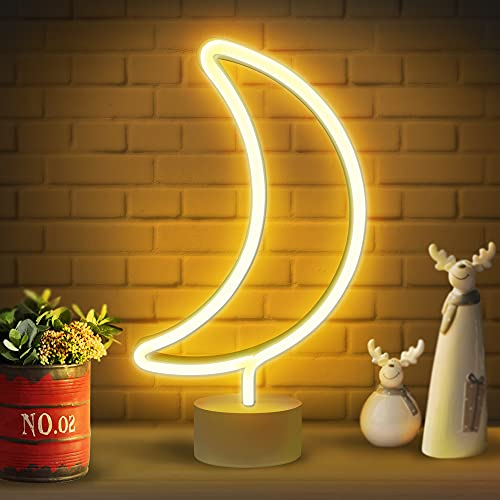 Lumoonosity Moon Neon Sign - Moon Neon Light for Bedroom, Desk, Table Decorations - Battery/USB Powered Moon Shaped Light - Stand Alone Moon Led Signs - Warm White Moon Led Light - Cute Neon Lamp Sign