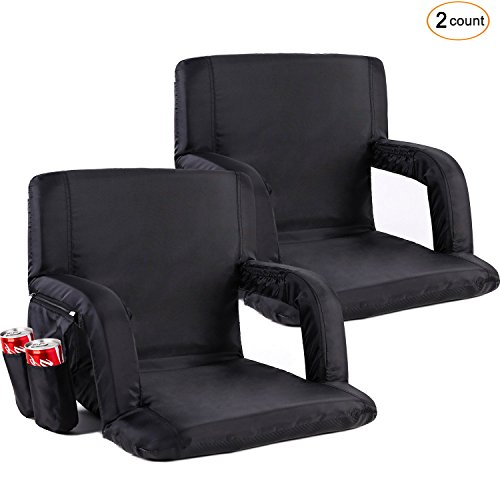 Sportneer Portable Stadium Seat Chair, Reclining Seat for Bleachers with Padded Cushion Shoulder Straps, Black, 2 Pack