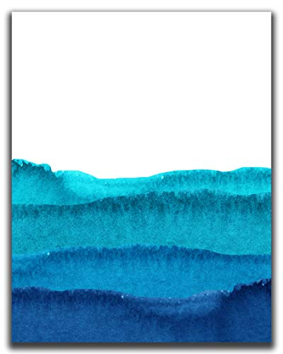 Watercolor Blue Ocean Print Wall Decor - 11x14' UNFRAMED Print - Abstract Painting, Gradient - Navy Blue, Teal, Turquoise Sea Wall Art