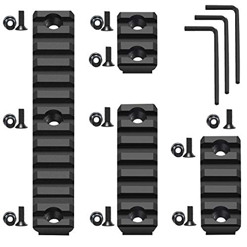 FENTUK Keymod Picatinny Rails, 3 5 7 13 Slots Aluminum Picatinny Rail Sections Adapter Attachment Mount Compatible with Keymod System with 10 Screws & Nuts, 3 Allen Wrench - 4 Pack