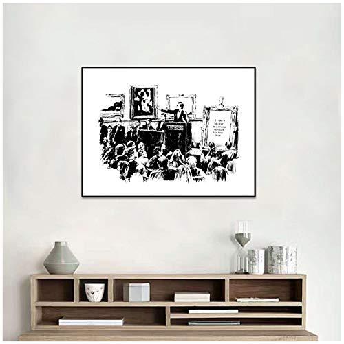 Veilingen Graffiti Posters en Prints Woonkamer Muurdecoratie Zwart en Wit Canvas Schilderij Print op Canvas -40x60cm-Geen Frame