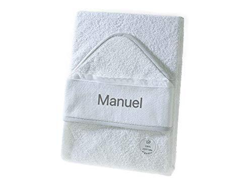 Toalla Capa de baño Bebe Personalizada con nombre bordado - Danielstore (Blanco-gris liso)