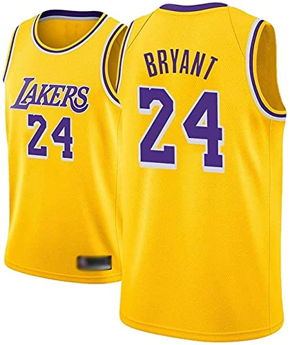 Camiseta de Baloncesto para Hombre, NBA, Los Angeles Lakers #24 Kobe Bryant. Bordado Swingman Transpirable y Resistente, Fresco y transpirable tejido deportivo, que absorbe la humed S Amarillo