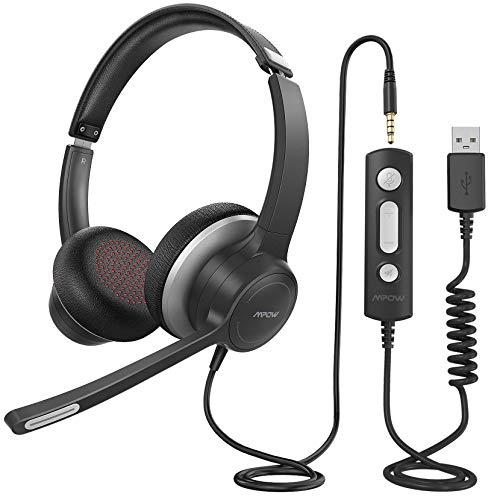 PC Headset mit Mikrofon, Mpow USB/3,5mm Leicht-Kopfhörer, Business Headset mit Noise-Cancelling-Soundkarte für Laptop Computer, HiFi Surround Kopfhörer für Skype Call Center Office Telefonkonferenzen