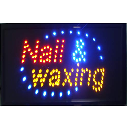 CHENXI Led Nail and Waxing Nail Spa Beauty Salon Open Store Sign Indoor Use Size 48 X 25 cm (48 X 25 cm, Nail waxing)