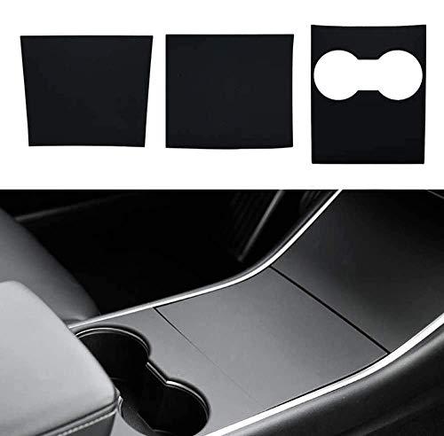 Model 3 Mittelkonsole Wrap Kit Folie ABS Kunststoff Armlehne Control Panel Dekorative Abdeckung Aufkleber für Model 3 Center Console Protector Zubehör(Mattschwarz)