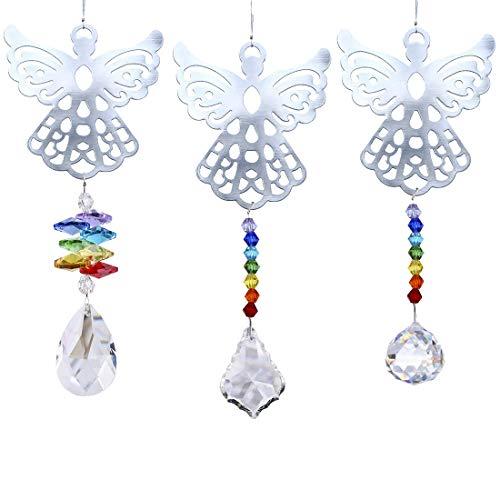 H&D kroonluchter hangende kristal zonnecatcher metalen hanger 3 stuks engels.