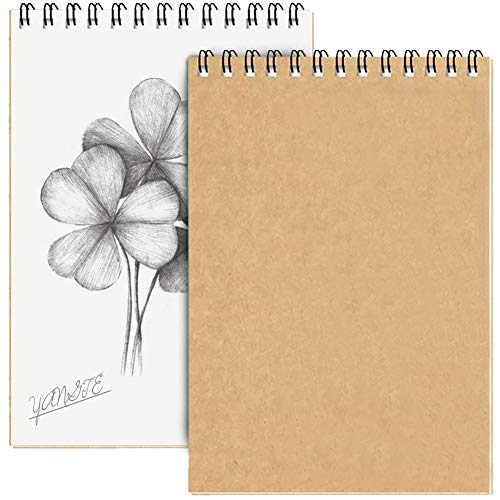 Skizzenblock, A4, Spiralbindung, Hardcover, Zeichenblock, weiß, 160 g/m², Kartuschenpapier, Kraftpapier, Querformat, 60 Seiten/30 Blatt, 2 Stück