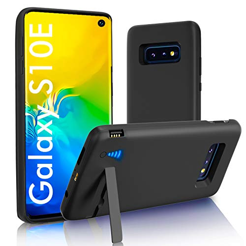 """[Upgraded] SlaBao Galaxy S10E Battery Case, Kickstand & Dual Device Charging & Priority Charging Case, 5000mAh Rechargable Backup Charger Case for Samsung S10E (5.8"""") Black"""
