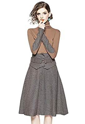 LAI MENG FIVE CATS Women's Retro Two-Piece Career Tunic Casual A-line Midi Skirt Dress