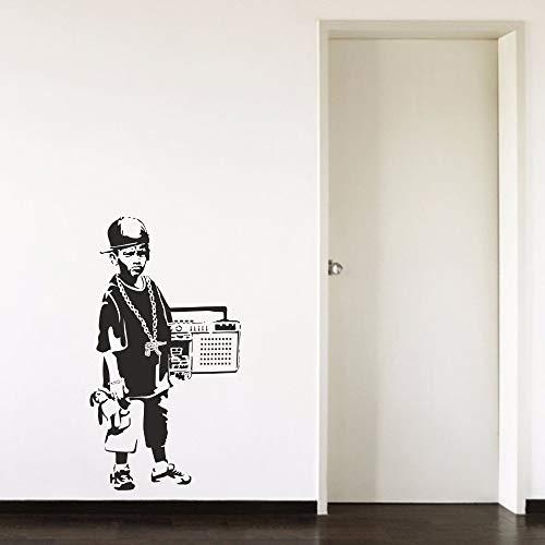 zhuziji Junge Teenager Radio Cool Cap Flur Junge Schlafzimmer Wohnzimmer Home Fenster Dekor Vinyl Kunst Wandtattoo Stick lila 57X103cm