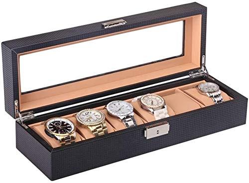 BRFDC Caja de Relojes de Cuero Caja de Reloj con Tapa de Cristal Tapa de la Pantalla En Negro de Cuero Hecha a Mano 6 Rejilla Reloj Organizador Caja Ideal for O Seguir Este Uso Tienda