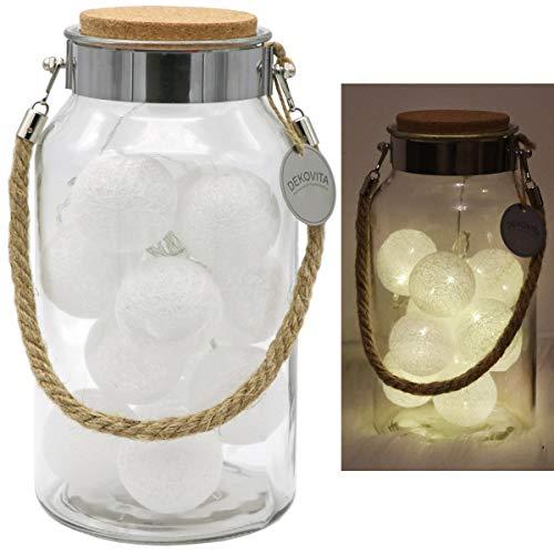 Dekovita Dekoglas H:30cm Korkdeckel inkl. Tronje 10 LED Lichterkugeln 4h-Timer Lichterkette Baumwollkugeln Warm-Weiß