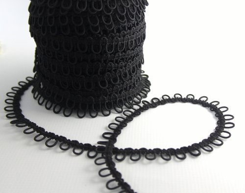 Nakpunar 12' Black Elastic Button Loops - Adjacent - for Bridal Gowns, Trails