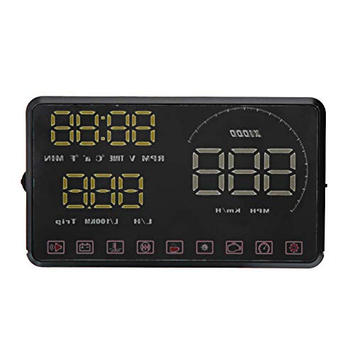 YJZO Universal Car Display-Universal 5.5in Screen Car HUD Head-Up Display Velocidades automáticas Alarma Velocímetro Proyector