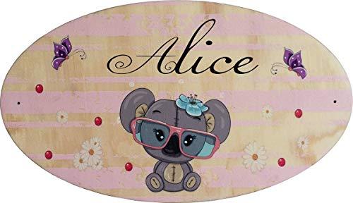 Plaque de Porte en bois personnalisée pour une Chambre d'enfant Koala - Le prénom de la plaque en bois est personnalisable - cadeau de naissance personnalisé bébé Décoration