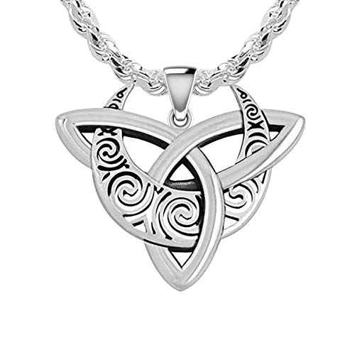 US Jewels Men's 925 Sterling Silver 24mm Irish Celtic Cresent Moon Triquetra Knot Pendant 3mm Rope Chain Necklace, 24in
