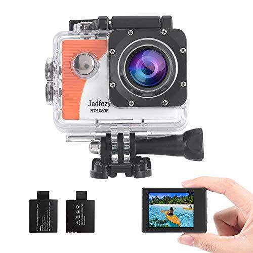 Jadfezy Action Cam 1080P FHD, Unterwasserkamera wasserdicht bis 30 M , Sportkamera mit 140 Grad Weitwinkel, zwei 900 mAh wiederaufladbare Akkus und Zubehör-Set