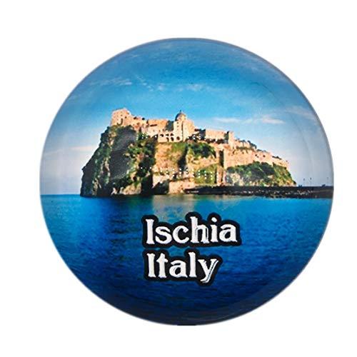 Aragonese Castle Ischia Italien Kühlschrankmagnet 3D Kristallglas Tourist City Reise Souvenir Sammlung Geschenk Starke Kühlschrank Aufkleber