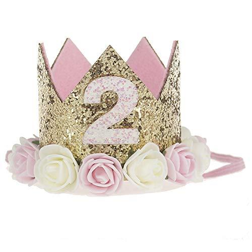 Ouinne 2 Ano de Estilo Princesa bebé Flor Corona Diadema cumpleaños Accesorios para el Cabello