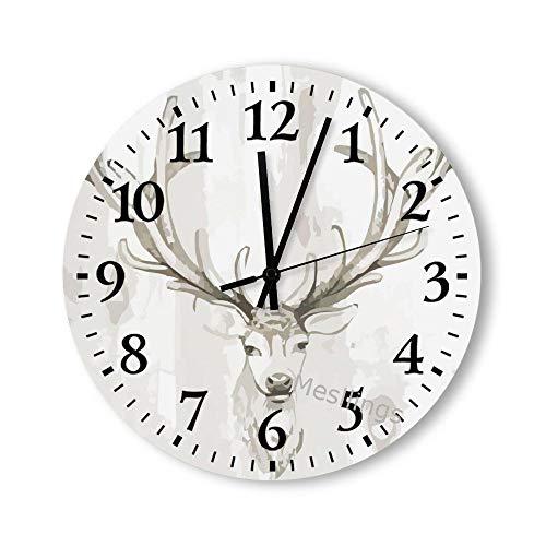 Mesllings Wanduhr, Hirsch, bedruckt, rund, Holz, Wanddekoration, Uhren für Küche, Büro, Retro-Wanduhr, Heimdekorationszubehör, 38 x 38 cm