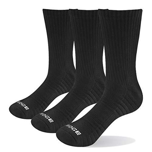 YUEDGE 3 Pares Hombre Algodon Montaña Trekking Senderismo Calcetines alto rendimiento medio Gruesos transpirable Calcetines Deportivos Ideales para deportes de Botas Trabajo Negro L