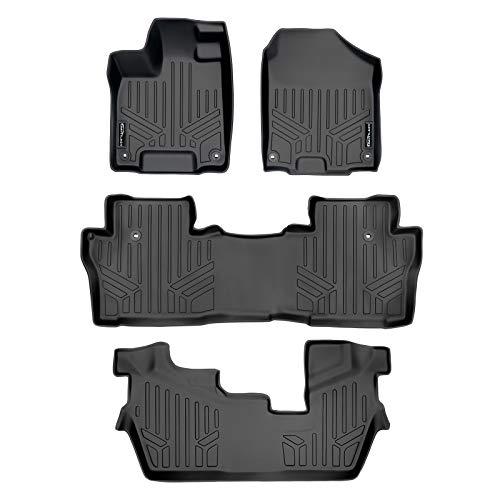 MAXLINER Custom Fit Floor Mats 3 Row Liner Set Black for 2016-2021 Honda Pilot 8 Passenger Model (No Elite Models)
