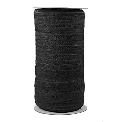 100 Yards - Black FOE - 5/8' Fold Over Elastic - Creased Black Elastic - ElasticByTheYard
