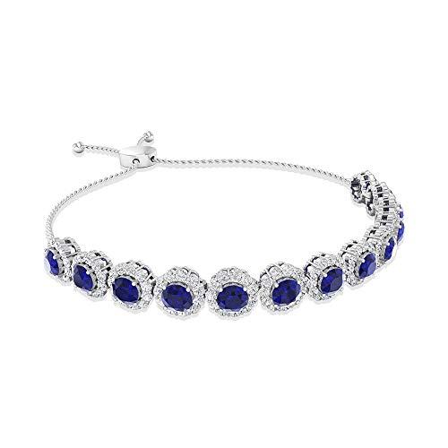 Vintage 6.56 CT Blue Sapphire Certified Diamond Halo Bolo Bracelet, 14k Gold September Birthstone Adjustable Chain Link Bracelets, Stackable Bracelets 14K White Gold 7 Inches