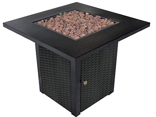 New LEGACY HEATING 28-Inch Square Gas Fire Pit Table Powder Coating Wicker Look, a Table Lid Include...