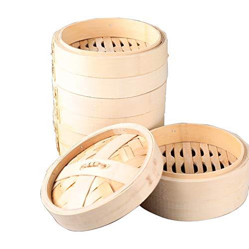 Cesta de vapor de bambú de 7 pulgadas (18 cm), cesta de vapor orgánica duradera de 4 niveles con tapa, para cocinar Dumpling Dim Sum, cocina saludable