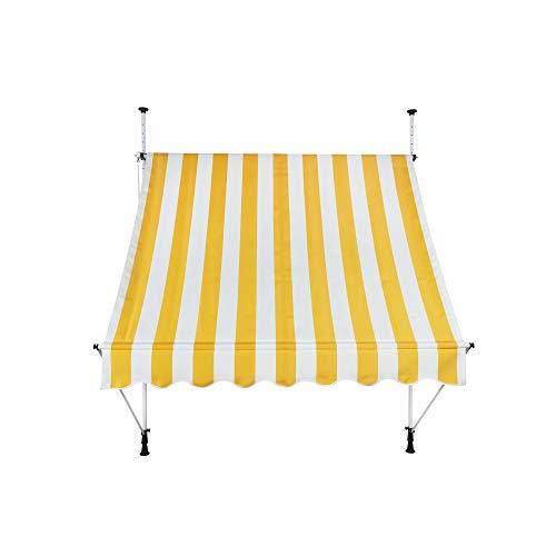 paramondo Jam Klemmmarkise Balkonmarkise ohne Bohren, Höhenverstellbar, UV beständig, mit Handkurbel, 2,50 x 1,20 m, Stofffarbe Gelb-Weiß