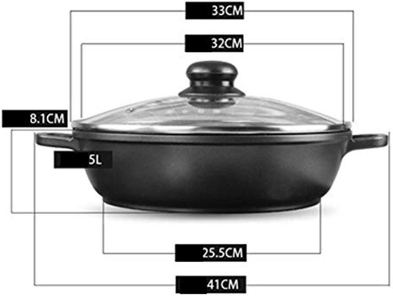 WOAINI Sartén Antiadherente Olla de Sopa Superficial Olla de inducción Olla de Sopa de Fondue con Tapa Cazo (Tamao   32cm)