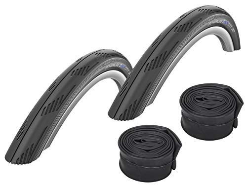 Schwalbe City Jet 26' Mountain Bike Slick Cycling Commuting Tyre 26' x 1.95' & Schrader Valve Tube Deal x 2 (Pair of tyres and tubes)