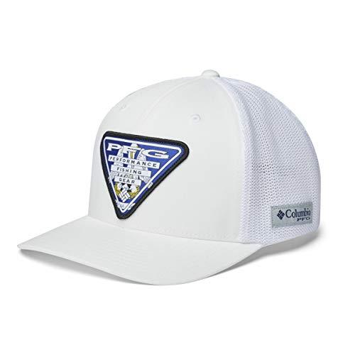 Columbia Unisex PFG Mesh Stateside Ball Cap, White/Louisiana Triangle, L/XL