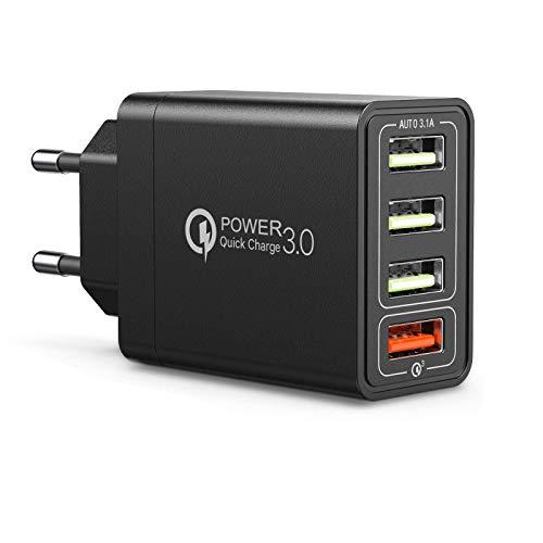 QueenDer Caricatore USB 3.0 Quick Charge 4 Port 18W Compatibile per iPhone Samsung Huawei Smartphones Tablet Altri Dispositivi (Black)