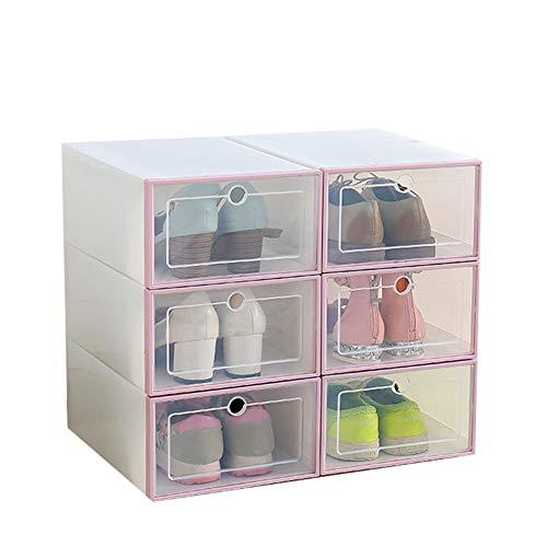 Lalaoo 6 Stück transparente Schuhbox Flip Design Kunststoff Aufbewahrungsbox Organizer staubdicht für Zuhause faltbar stapelbar Schuhcontainer Klar Schrankregal Rose