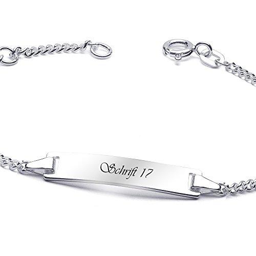 MATERIA Kinder Armband mit Gravur Kleeblatt Anhänger 925 Silber rhodiniert emailliert 14-16cm #SA-49, Schrifttyp:Schrifttyp 17