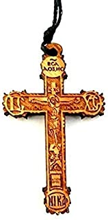 Christian Orthodox Greek Religious Pendant Necklace with Wood Cross / 35