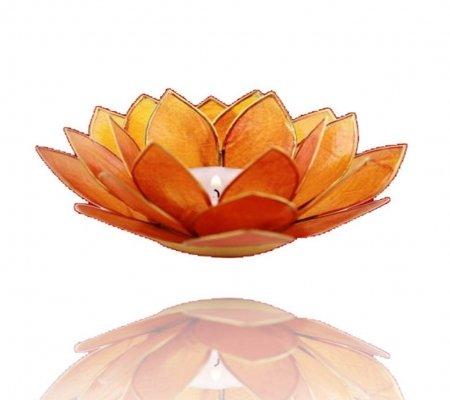 Trimontium Teelichthalter in Form Einer dreiblättrigen Lotusblüte, Capiz-Muschel, orange, 14 x 14 x 8 cm
