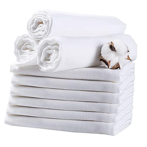Mulltücher baby 9er Set 80X80cm AKK BABY | Spucktücher baby mit verstärkter Umrandung Premium| ÖKO-TEX zertifizierte Gut Qualität Weiß diaper bin| Spucktuch, Mulltücher Saugstark Baumwolle