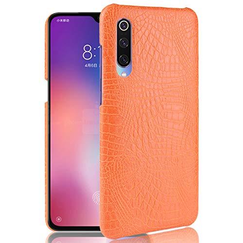 HualuBro Handyhülle für Xiaomi Mi 9 SE Hülle, Premium PU Leder Hardcase [Ultra Dünn] Lederhülle Tasche Schutzhülle Hülle Cover für Xiaomi Mi 9 SE 2019 (Orange)