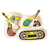 Ctzrzyt 3 Unids/Conjunto Vajilla de Plato de Bebé NiiOs de Dibujos Animados Coche Platos de AlimentacióN Platos NiiOs Vajilla de Fibra de Bambú Natural con Tenedor Cuchara Plato