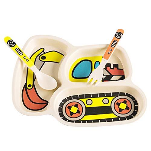 Dasing 3 Teile/Satz Baby Dish Geschirr Kinder Karikatur Auto Futter Napf Gerichte Kinder NatüRliche Bambus Faser Geschirr mit Gabel L?Ffel Platte
