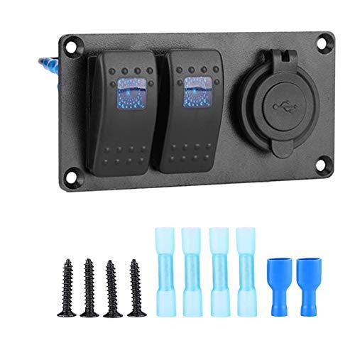 LHaoFY Accesorios de interruptor de la luz delantera LED 3-dígitos Rocker Interruptor de interruptor de encendido Power Socket 3.1A Dual USB Cableado Kit y etiqueta etiqueta DC12V 24V para barcos mari