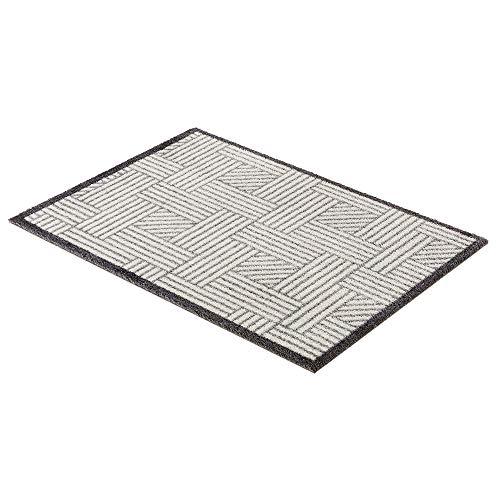 Schöner Wohnen Fussmatte Manhattan Streifengitter Silber-grau 004 | 67x100 cm